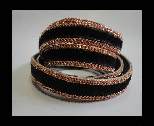 Hair-on leather Rose Gold Chain-Black-10mm
