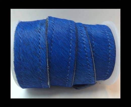 Hair-On Leather Flat-dark blue with stiches-20mm