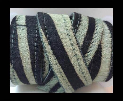 Hair-On Leather Flat-green zebra with stiches-20mm