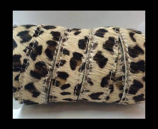 Hair-On Leather Flat-leopard small dots with stiches-20mm