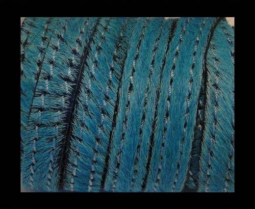 Cuir naturel avec poil et coutures - 10mm - SE/HS/Turquoise
