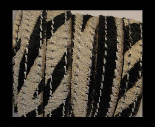 Cuir naturel avec poil et coutures - 10mm - SE/HS/Zebré
