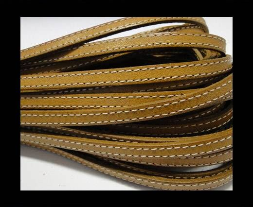 Flat Leather Stitched 5mm - Light Brown