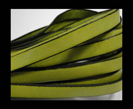 Flat Leather-Black Edges - Pistachio