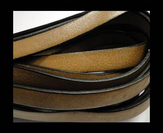 Flat Leather-Black Edges - Sand