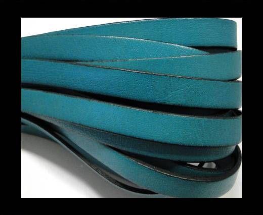 Flat Leather-Black edges - Sea Blue