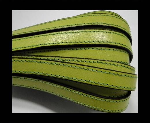 Flat Leather-Double Stitched - Black edges - Pistachio