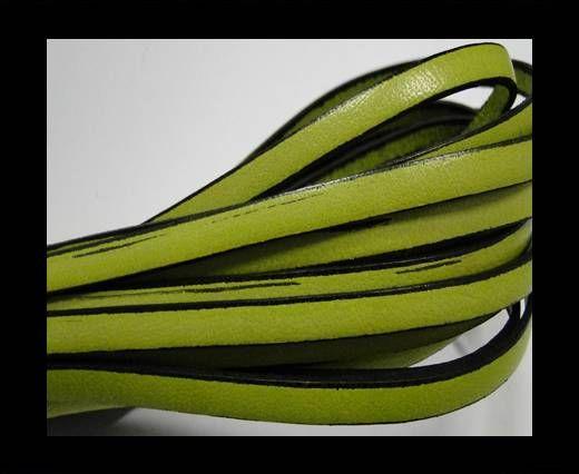 Flat leather - 5 mm - Black edges - Pistachio