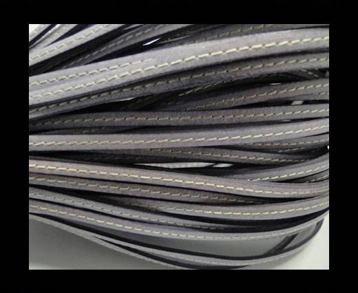 Flat leather - 5 mm - Stitched - Light Lila