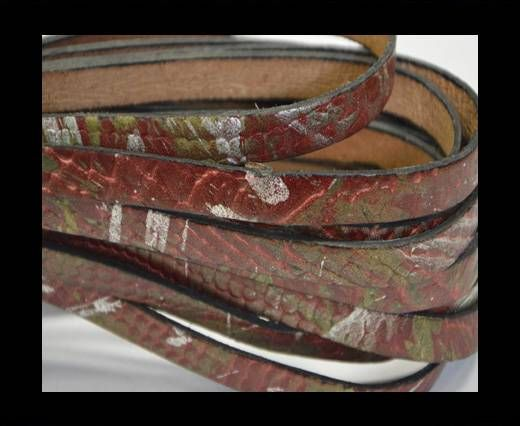Flat Leather-Snake gold-maroon