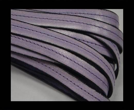 Flat Leather-Center Stitched - Black edges - Purple