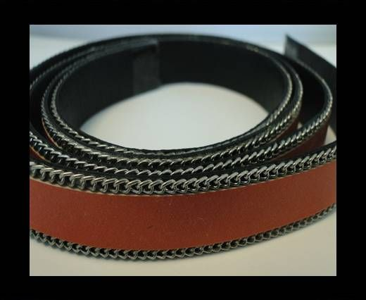Flat Leather with Chain- Orange-10mm