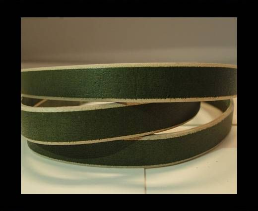 Flat Leather- Natural Edges -Hunter Green-10mm
