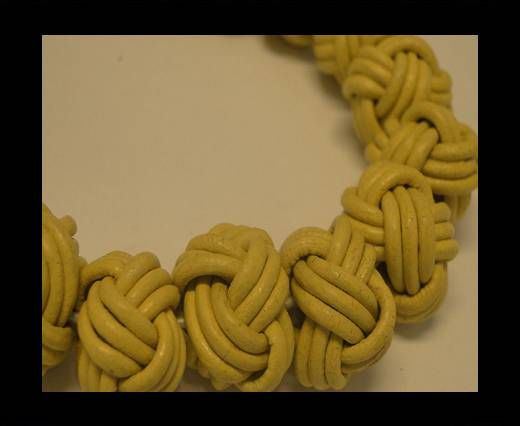 Leather Beads -12mm-Yellow