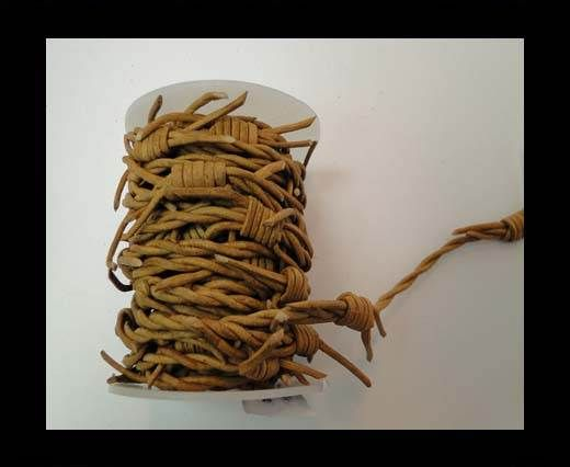 Leather cords - Barb wire -Dark Natural