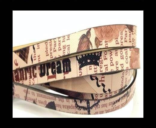 Cuir avec imprimé journal - 10mm - Beige