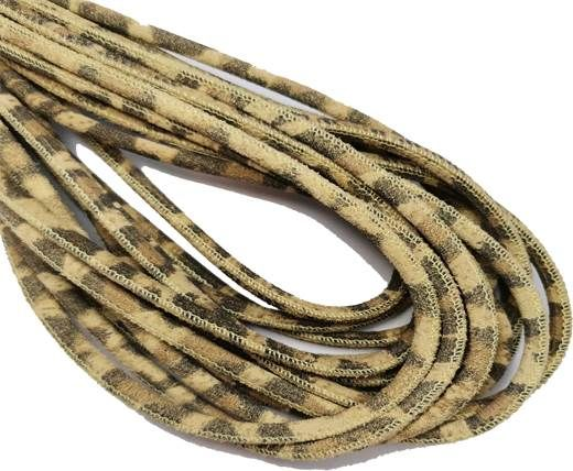 Round Stitched Nappa Leather Cord-4mm-leopard beige
