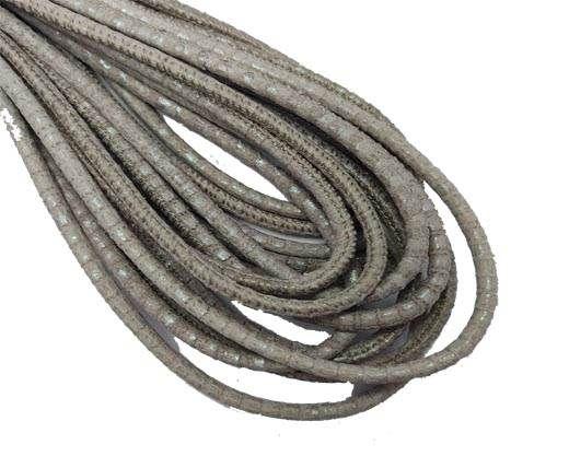 Round Stitched Nappa Leather Cord-4mm-lizard beige