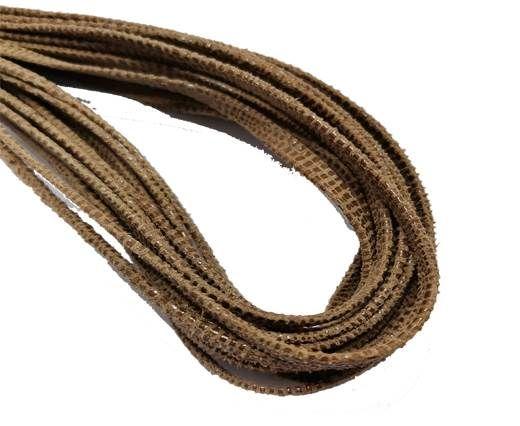 Flat Nappa Leather cords - 5mm - Lizard camel