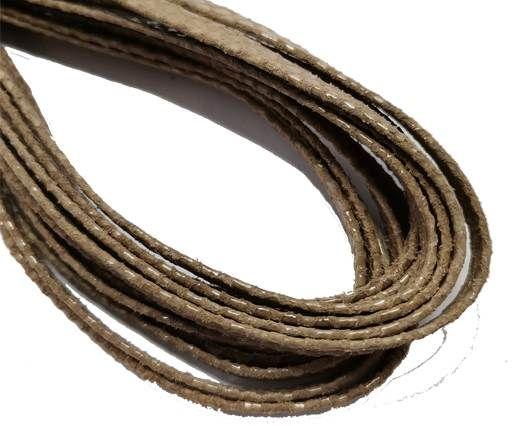 Flat Nappa Leather cords - 5mm - Lizard dark beige