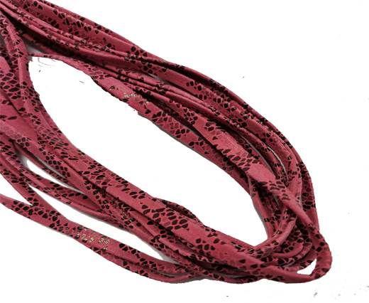 Flat Nappa Leather cords - 5mm - Lizard dark rose