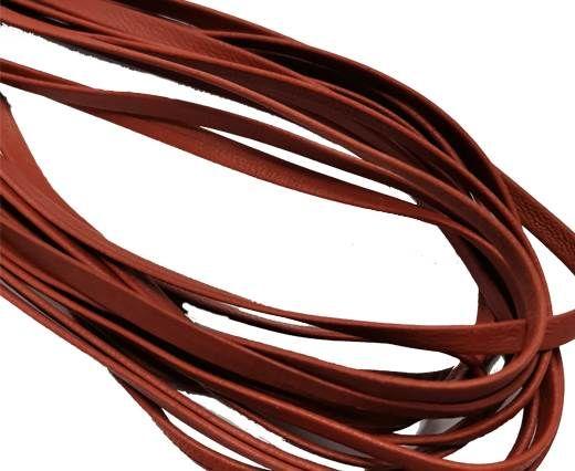Flat Nappa Leather cords - 5mm - medium brown brick