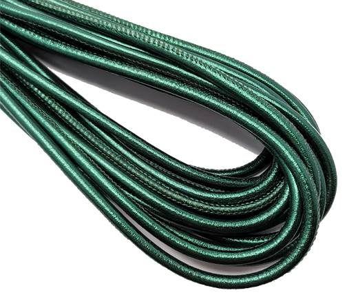 Round Stitched Nappa Leather Cord-4mm-metallic emerald