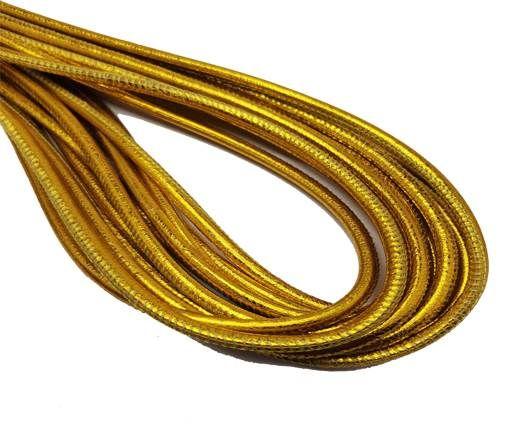 Round Stitched Nappa Leather Cord-4mm-metallic gold
