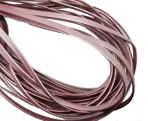 Flat Nappa Leather cords - 5mm - metallic pink