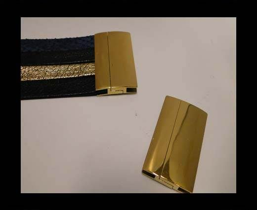 Stainless Steel Magnetic Clasp,Gold,MGST-111-40*3.5mm