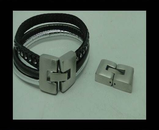 Stainless Steel Snap Lock Clasp- MGST-14-10*2,5mm-BRUSHED STEEL