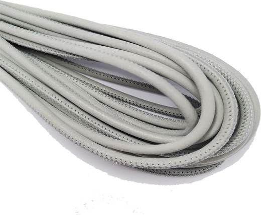 Round Stitched Nappa Leather Cord-4mm-multidot grey