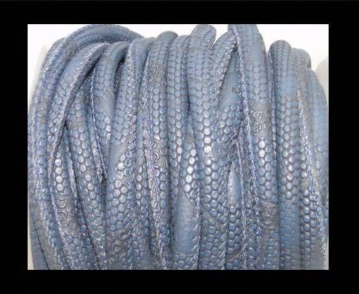 Cuir Nappa - 4mm - Snake Dotted Style - Bleu foncé
