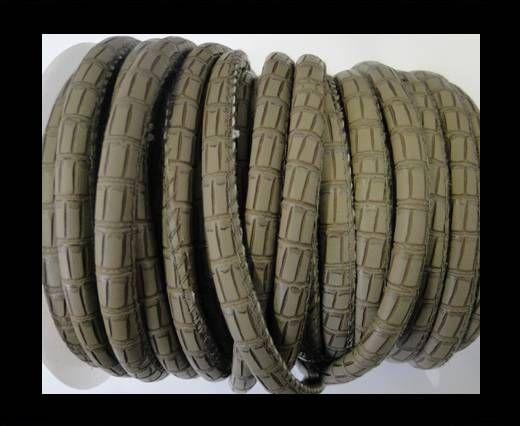 Cuir Nappa - 6mm - Crocodile Style - Taupe