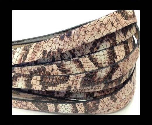 Italian Flat Leather 10mm by 2mm-Crocodile Rosa