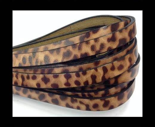 Italian Flat Leather 10mm by 2mm-Leopard Marrone