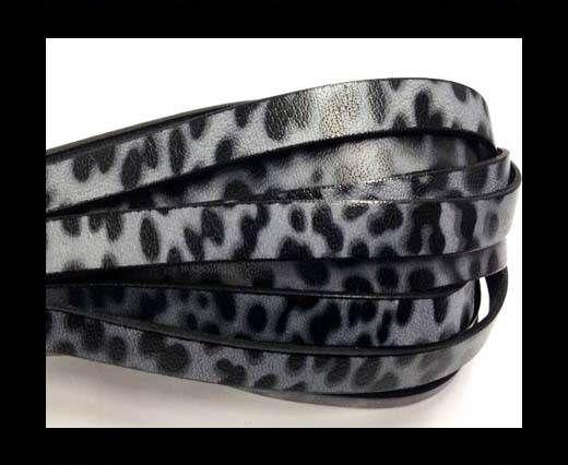 Italian Flat Leather 10mm by 2mm-Leopard Nero