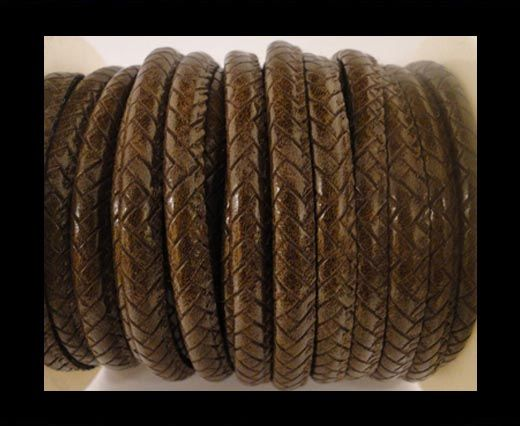 Cuir Nappa - 4mm - Snake Style - Spot Style - Marron