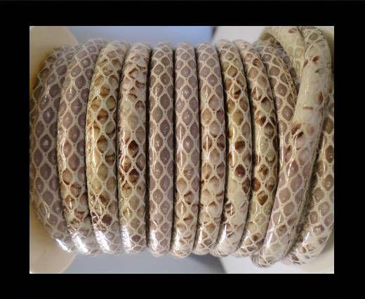 Cuir Nappa - 6mm - Snake Style - Oblong Marron