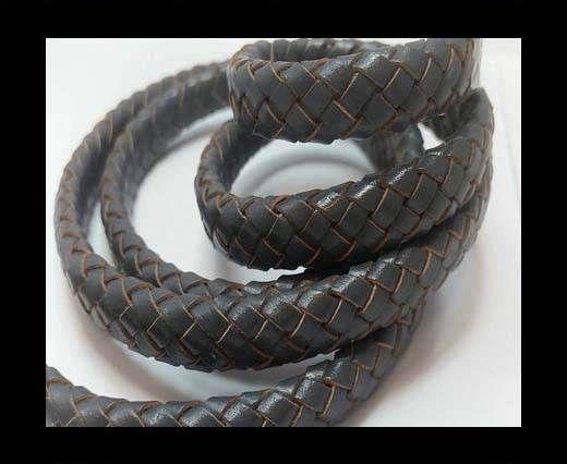 Oval Braided Leather Cord - SE Dark Grey
