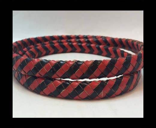Oval Braided Leather Cord - Black & Se.R.12