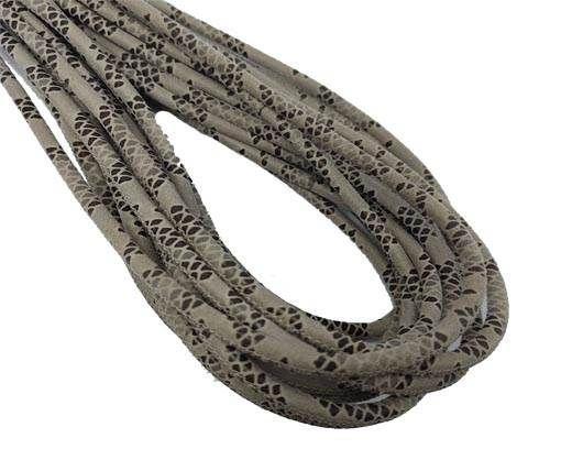 Round Stitched Nappa Leather Cord-4mm-python beige