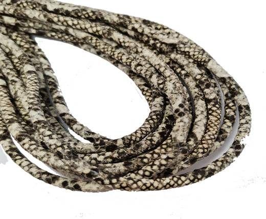Round Stitched Nappa Leather Cord-4mm-python black sand
