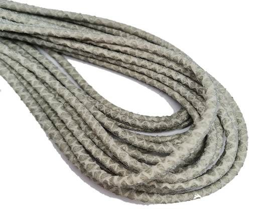 Round Stitched Nappa Leather Cord-4mm-python grey