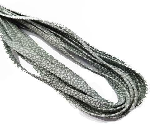 Flat Nappa Leather cords - 5mm - Raza salvia paill white