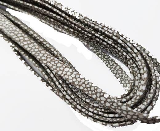 Flat Nappa Leather cords - 5mm - Raza taupe paill white