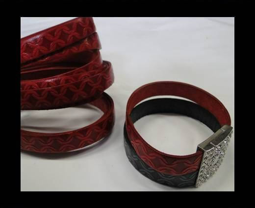 Real Flat Leather-10mm-Chain style-Red