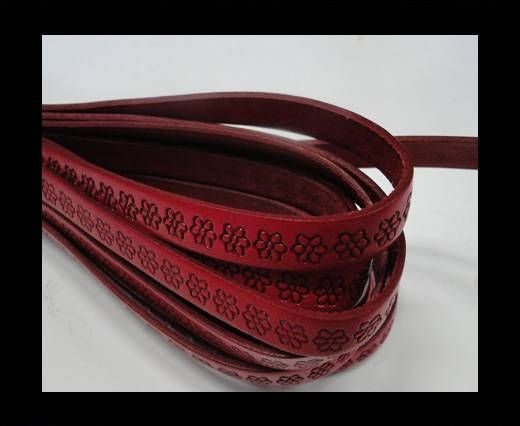 Real Flat Leather-10MM-Flower pattern-Red