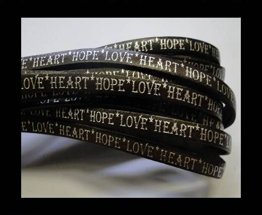 Real Flat Leather-5MM-Hope Love Heart style-shiny words bruciato