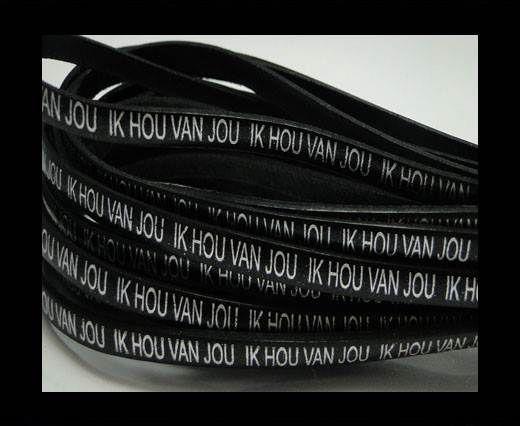 Real Flat Leather-5MM-IK HOU VAN JOU-silver-Black